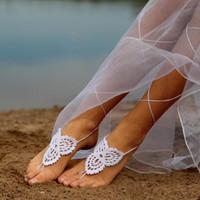 Crochet sandali a piedi nudi gladiatore braccialetto alla caviglia Beach Gioielli piede Wedding Victorian Lace up, scarpe Yoga, cavigliera nuziale