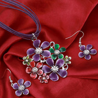 6 Colors Fashion Colorful Flower pendant Necklace Earrings S...