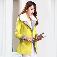 New Women Warm Wool Blend Long Coat With Fur Collar Slim- Fit...