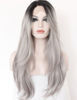 Parrucca anteriore in pizzo sintetico grigio 2 toni parrucca Radici scure Lunghe parrucche diritte naturali grigie argentate per capelli per donne resistenti al calore