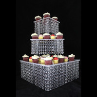 5 set / lotto 3 Tier Acrylic Cupcake stand Crystal Cake Stand Square Christmas Anniversary Anniversary Birthday Party Strumenti di visualizzazione
