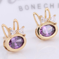 Top Quality 4 Colors Gold Plated Zircon Bowknot Rabbit Pierc...