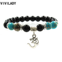 Atacado- Vivilady Bohemian Om Yoga Encantos Tiger Eye Stone Resina Turquesa Beads Elastic Cuff Bracelets Pulseras Hombre Mulheres Presentes