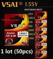 50pcs 1 lot AG1 LR621 164 364 364A SR621 LR60 1.55V pile bouton alcaline pile de la batterie piles VSAI Livraison gratuite