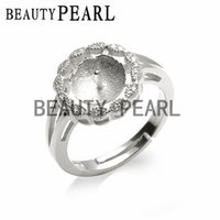 Pearl Ring Mount Round Face Ring Base Jewelry Findings 925 S...