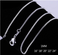 925 Sterling Silver Box Chain Jewelry Jewelry 1.2mm 925 Sterling Silver Chains 100pcs / lot Mix Size Free