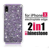 Premium Bling 2 en 1 cristal luxe diamant strass antichoc paillettes étui de protection arrière pour iPhone X 8 7 Plus 6 6S Samsung Note 8 S8