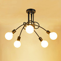 Luzes do teto do vintage Luminárias modernas Lâmpadas LED Lâmpadas Home Iluminação Metal Lampshade Edison E27 Titular 3/5 Cabeças Lâmpada