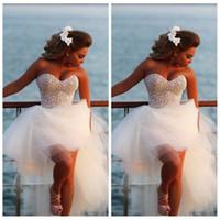 Beadings 비치 이브닝 드레스 (High) 저 (Low) 파티 드레스 vestido 드 페스타 formatura와 매력적인 연인 민소매 명주 댄스 파티 드레스