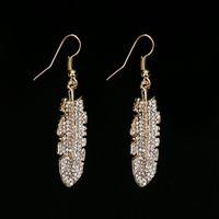 color de oro de la vendimia pendiente de joyería de moda Marca de cristal de la hoja del Rhinestone pendiente de gota puños para las mujeres # E227