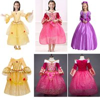 Enfants Princesse Robes Parti Pageant Robe De Bal Long Plissée Cosplay Robe Aurora Belle Sophia Aurora Gaze Dentelle Belle Au Bois Dormant HH7-195