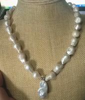 New Fine Genuine gioielli perle Eccellente 15-25mm naturale del sud barocco bianco Akoya perla pendente collana 18 pollici