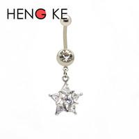 Barra de vientre de acero quirúrgico Five Star Clear CZ gemas 14G Cristal Dangle anillos del ombligo Botón Hermoso Cuerpo Piercing Joyería Nuevo