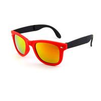 Nueva Marca de Diseño gafas de Sol Plegables piloto Vintage Gafas Clásicas Gafas de Sol Para Mujeres Hombres Gafas de Metal Marco Retro Con Caja
