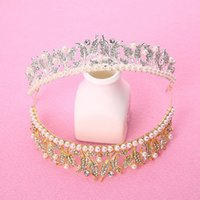 Korean style pearl alloy crystal rhinestone bridal crown new...