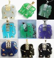 Pendente a forma di elefante d'agata economico a 9 colori bianco / verde / viola / blu / giada nero