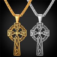 18 K Chapado En Oro de Acero Inoxidable Celta Cristiana Joyería Triquetra Viking Triple Cuerno De Odin Celtic Cruz Collares Colgante