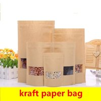 Kraft paper bags Stand up Pouch With window Kraft small reta...