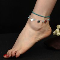 Bohemian Stone Beads & Sequins Tassel Anklets for Women Chai...