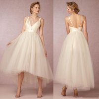 V Neck High Low Tulle Sleeveless Champagne Sexy Elegant Beau...