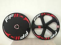 FFWD karbon 5 tekerlek diski kapalı tekerlek yol / parça bisiklet tekerleği tübüler ve kattığı 3k / 12 k