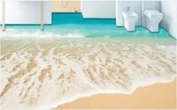 Özelleştirilmiş 3d döşeme plaj sahil fotoğraf duvar kağıdı 3D stereoskopik 3d zemin fayans kendinden yapışkanlı duvar kağıdı