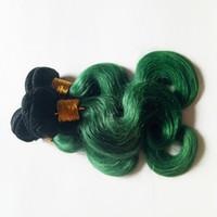 Art und Weise Omber färben brasilianische reine Haar-Erweiterungen 3 Bündel reizvolles ombre 1B / Grün Zwei Ton heiße Schönheit peruanisches indisches remy Haar-Produkt