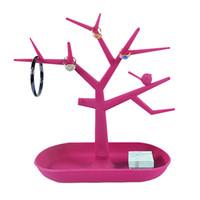 Frete Grátis Hot Sales Moda TC Colar de Jóias Anel Brincos Pássaro Red Tree Stand Organizador Titular Rack de Exibição