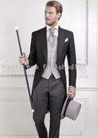 최신 디자인 하나의 버튼 신랑 아침 정장 들러리 남성 웨딩 재킷 정장 코트 (재킷 + 바지 + 조끼 + 넥타이) : 889