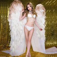 lujo alto quaity avestruz blanco alas de ángel boda de la pluma barra de la decoración del hogar DIY apoyos buen tiro apoyos EMS libera el envío