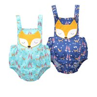 INS Baby girl fox rompers 2 Color 2017 new Children ins cott...