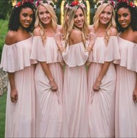 2017 Blush Pink Chiffon Off the Shoulder Bridesmaid Dresses ...