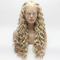 Iwona Hair Curly Long White Blonde Auburn Mix Peluca 18 # 1001/613/30 Peluca delantera de encaje sintético resistente al calor atada a media mano