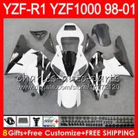 8Gift 23Color Body Per YAMAHA YZF 1000 R 1 YZFR1 98 99 00 01 61HM20 bianco nero YZF1000 YZF R1 YZF-R1000 YZF-R1 1998 1999 2000 2001 Carena