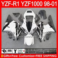 8Gift 23Color Corps Pour YAMAHA YZF 1000 R 1 YZFR1 98 99 00 01 61HM20 blanc noir YZF1000 YZF R1 YZF-R1000 YZF-R1 1998 1999 2000 2001 Carénage