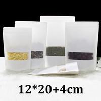 12x20cm bereifte klare Plastikfenster-Nahrungsmittelgradverpackung wiederverschließbarer Reißverschluss aufstehen Geschenk kleine weiße Kraftpapiertüte