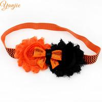 Şapkalar Elastik Bantlar 10pcs / Lot 2019 Cadılar Bayramı Bantlar Kızlar Ve Çocuk Mini Pullu Bow İki Perişan Çiçekler