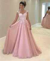Partykleider Abiti da Cerimonia Da Sera 2019 Eine Linie Rosa Tüll Bodenlangen Günstige Lange Abendkleider in China hergestellt