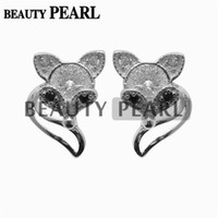 5 Pairs Cute Fox Earring Pearls Mount 925 Sterling Silver DI...