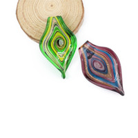 Murano Glas Anhänger Ölgemälde Stil Blattförmige Lampwork Handgemachte Anhänger Charme Für Schmuck Halskette, 12 teile / schachtel, MC0015