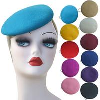 دائرة إمرأة صوف فيلت قبعة مستديرة قبعة القبعات القبعات fascinator قاعدة كوكتيل حزب الحرفية diy قبعة a227