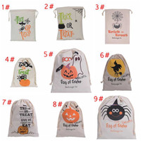 9 styles Halloween Large Canvas bags cotton Drawstring Bag W...
