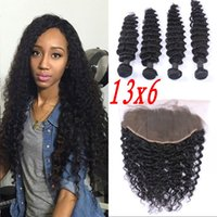 Lace frontal and bundles virgin Cambodian human hair 4 bundl...