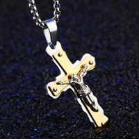 Christos Jesus Kreuz Anhänger Halsketten mit 600mm Kettengold Edelstahl Schmuck Colar für Man Cocker Halskette