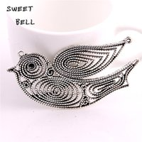 SWEET BELL Min order 6pcs 37*75mm Antique Silver Swallow Con...