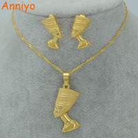 Anniyo Egyptian Queen Nefertiti Pendant Necklace & Earri...