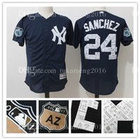 Broderie New York Yankees # 24 Gary Sanchez Maillots de baseball Homme 2017 Spring Training Cool Base Player Jersey Majestic Navy Livraison gratuite