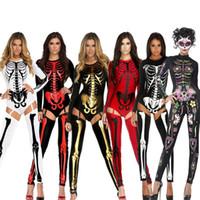 Disfraces de fiesta de Halloween Scary Devil Ghost Cosplay grandes mujeres cráneo esqueleto impresiones Leotard Catsuit Costume envío gratis