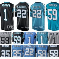 Hommes 22 Christian McCaffrey 59 Luke Kuechly Jersey 1 Cam Newton 35 Mike Tolbert 58 Thomas Davis Maillots broderie et cousu
