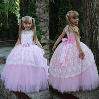 Pink and White Toddler Ball Gown Flower Girl Dresses 2017 fo...